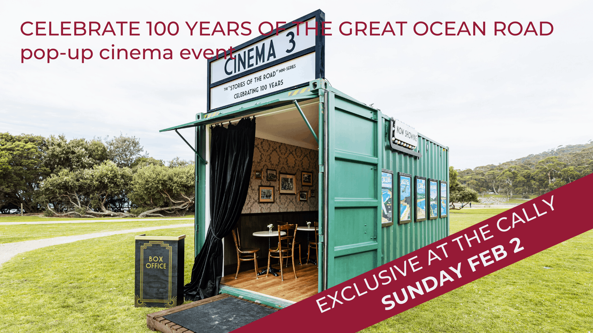 celebrate 100 years of the great ocean road with this pop up cinema exhibition at The Cally